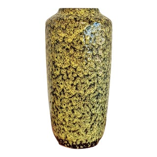 1960s Yellow and Black Scheurich 517/45 Fat Lava Floor Vase For Sale