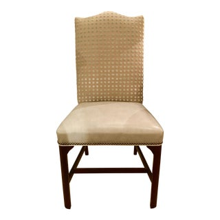 Hickory Chair Transitional Soft Gray Leather and Beige Linen Side Chair For Sale
