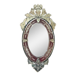 Vintage Venetian Cut and Etched Glass Wall Mirror For Sale