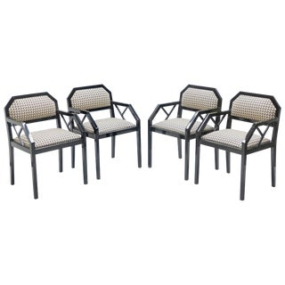 Rare Set of Four Hollywood Regency Black Lacquer Chairs j.c. Mahey, 1970s For Sale