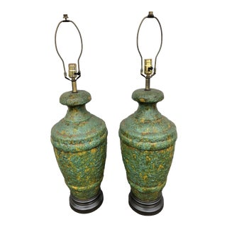 Mid Century Modern Brutalist Drip Volcanic Glaze Ceramic Lamps Avocado Green - a Pair For Sale