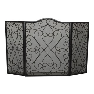 Vintage Spanish Style Black Iron Fireplace Screen For Sale