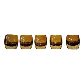 Swedish Modern Amber Glass Tea Lights - Set of 5 For Sale