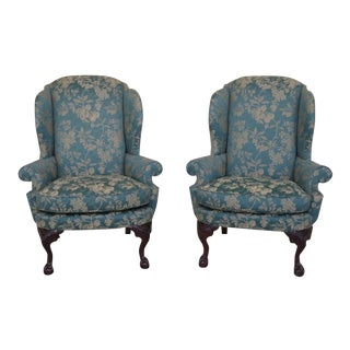 Century Ball & Claw Mahogany Wing Back Chairs - a Pair For Sale