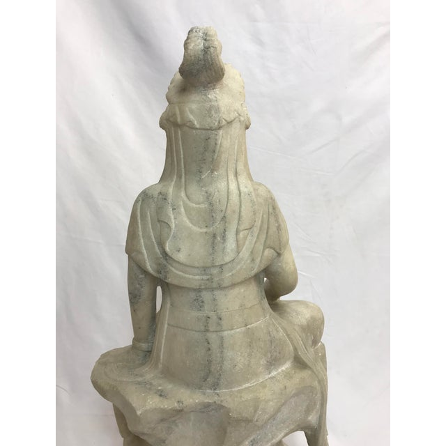Guanyin / Guan Yin Bodhisattva Marble Goddess of Mercy Seated Buddha Statue For Sale - Image 11 of 12
