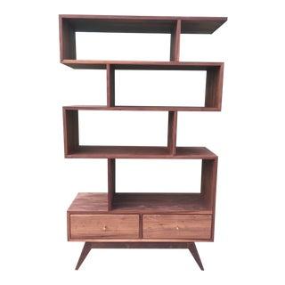 Contemporary Walnut Bookcase- Custom For Sale