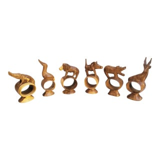 Vintage African Hand Carved Wooden Animal Napkin Rings- Set of 6