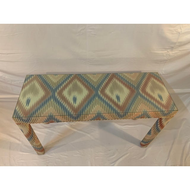 Wood Vintage Upholstered Parsons Console Table For Sale - Image 7 of 13