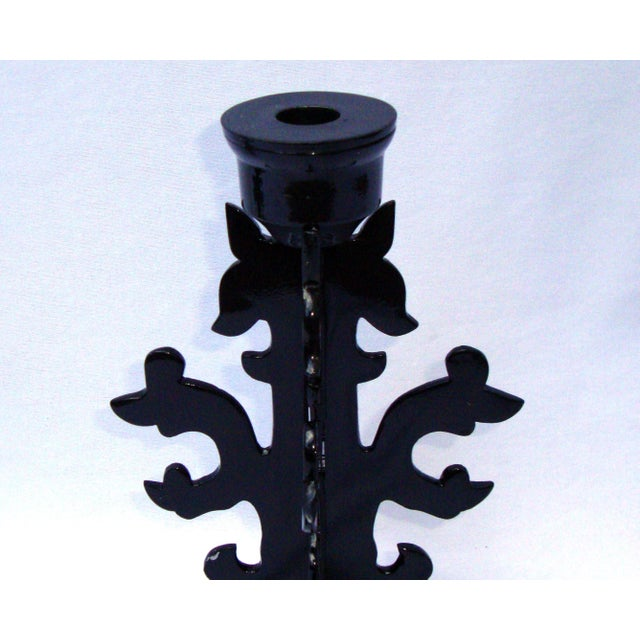 Modern Goth Black Metal Candle Holders - Image 4 of 10
