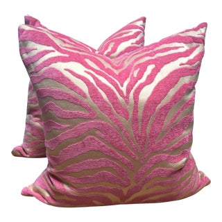 Pink Zebra Print Down Pillow Set With Turquoise Hidden Zipper - Set of 2 For Sale