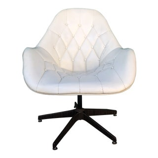 Mid Century Modern Tufted Vinyl Swivel Chair For Sale