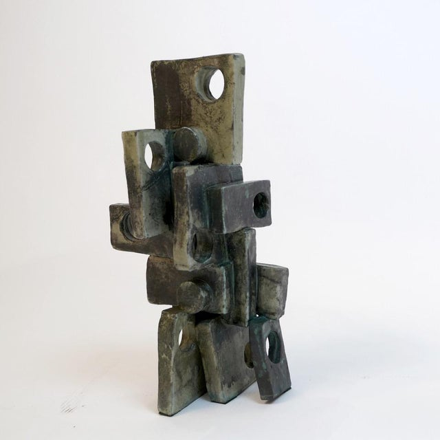 2010s Stunning Large Ceramic Sculpture With Mottled Weathered Bronze Glaze by Judy Engel For Sale - Image 5 of 6
