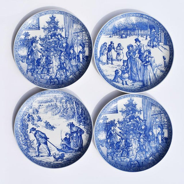 Spode Georgian Blue and White Ceramic Christmas Plates - Set of 4 For Sale - Image 12 of 12