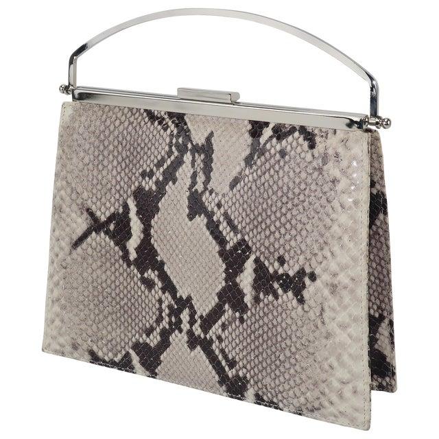 Vintage Neiman Marcus Python Printed Leather Handbag With Silver Handle For Sale