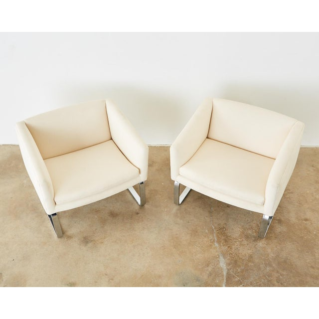Off-white Selig Mid-Century Modern Cantilever Lounge Chairs - a Pair For Sale - Image 8 of 13
