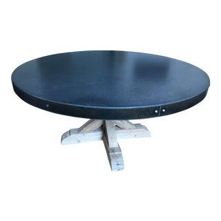 Belgian Trestle Concrete & Teak Round Dining Table