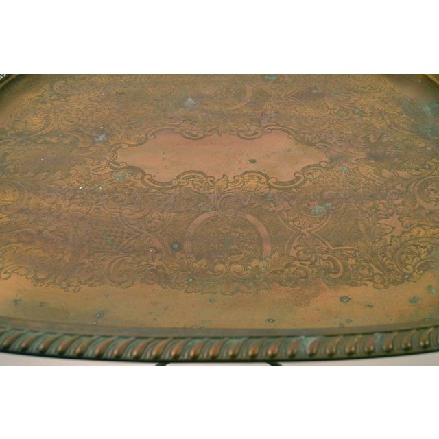 Hollywood Regency Classical Brass Tray-Top Table For Sale - Image 3 of 7