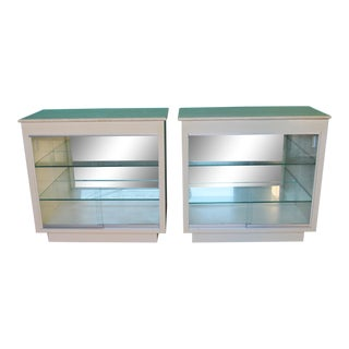 1980s Art Deco Revival Lacquer and Marble Buffet Display Cabinets - a Pair For Sale