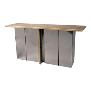 Etched Foliage Brass Console