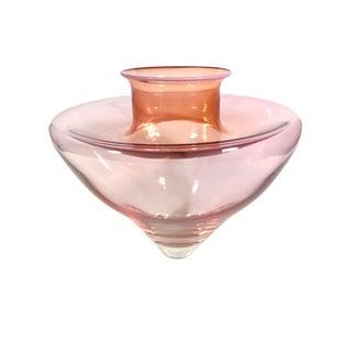 1980s Art Deco Style Pretty in Pink Art Glass Vase