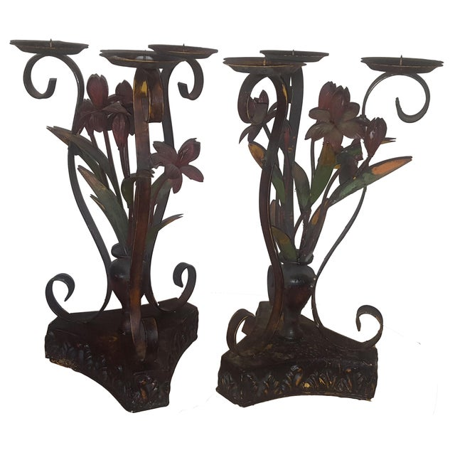 Large Metal Candle Holders - A Pair - Image 1 of 7