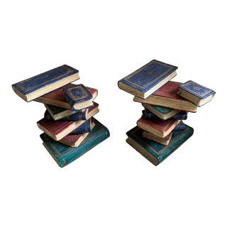 1970s Trompe l'Oeil Stacked Library Book Side Tables - a Pair For Sale