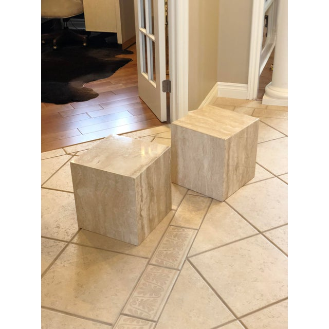 1970s Vintage Minimalist Italian Travertine Side Tables – A Pair For Sale In Detroit - Image 6 of 7