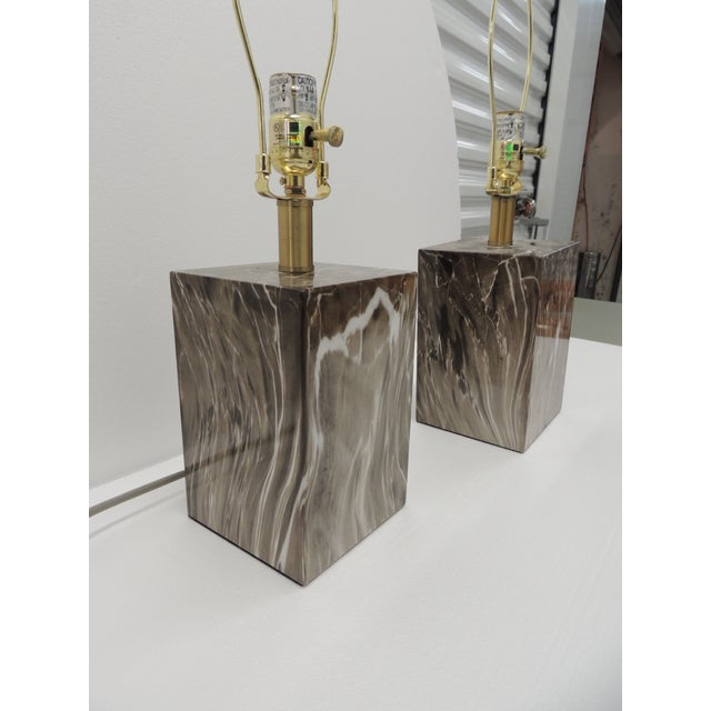 Lights Pair of Marbelized Squared Table Lamps For Sale - Image 7 of 9