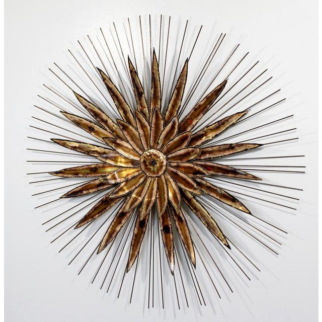 1970s Mid-Century Modern Curtis Jere Torchcut Style Brass Flower Wall Sculpture, 1970s For Sale - Image 5 of 8