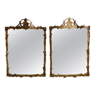 1960s Decorative Arts New York Giltwood Rococo Mirrors by Friedman Brothers - a Pair For Sale