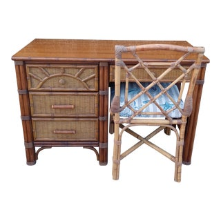 Vintage Henry Link Faux Bamboo Pecan Wood Desk and Rattan Chair For Sale