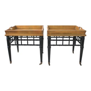 Pair of Mid-Century Faux Bamboo Gold Leaf Tray Top Tables
