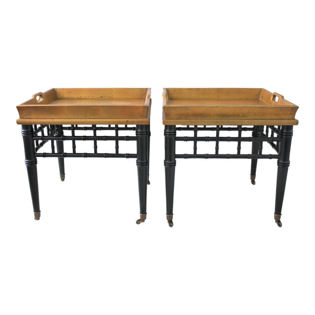 Pair of Mid-Century Faux Bamboo Gold Leaf Tray Top Tables For Sale