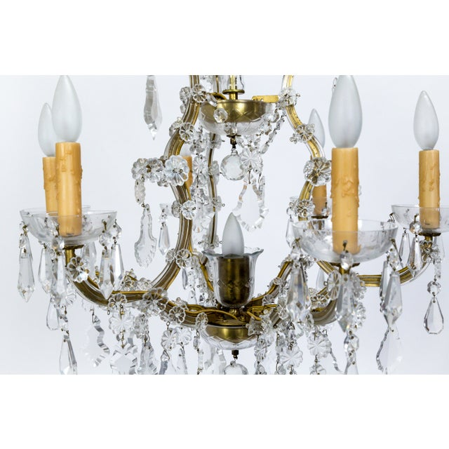 Gold 1920s Maria Theresa Style Crystal Seven-Light Chandelier For Sale - Image 8 of 13