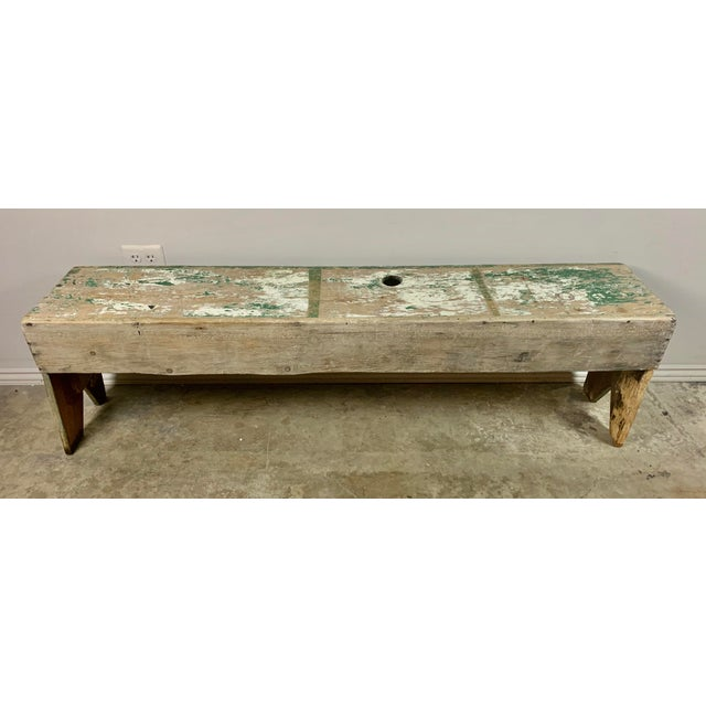 19th C. Swedish Painted Work Style Bench For Sale - Image 4 of 11