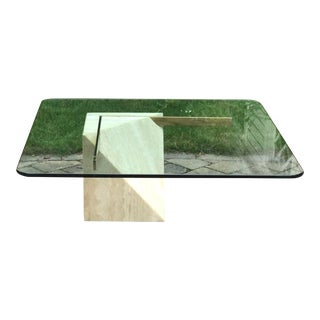 1970s Italian Travertine and Brass Coffee Table by Artedi For Sale