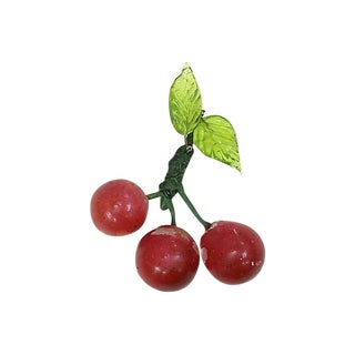 Vintage Italian Alabaster & Murano Cherries For Sale