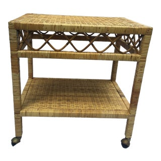 20th Century Boho Chic Wicker and Rattan Bar Cart For Sale