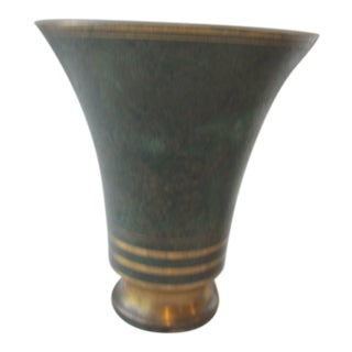 "1930s Arts Deco 7"" Tall Brass With Verdigris Patina Vase by Carl Sorensen For Sale"