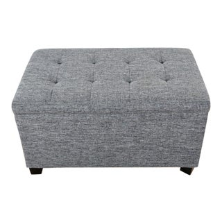 Contemporary Tainoki Gray Upholstered Button Tufted Ottoman