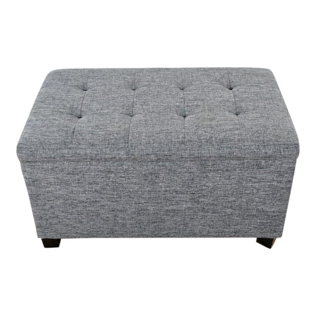 Contemporary Tainoki Gray Upholstered Button Tufted Ottoman For Sale