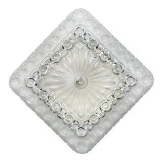1970s Clear & Frosted Glass Diamond / Square Flush Mount With Circle Motif For Sale