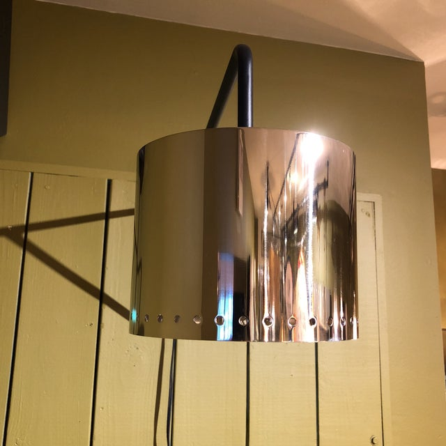 Black & Chrome Shaded Wall Lamp For Sale In Houston - Image 6 of 8