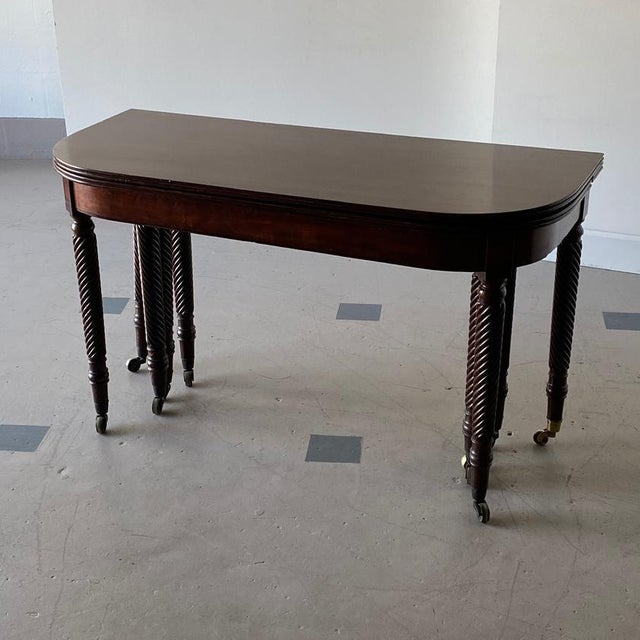 19th Century Regency Mahogany Accordion-Action Dining Table For Sale In West Palm - Image 6 of 9