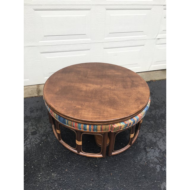 Wood 1970's Vintage Walnut Adjustable Games Table & Stools- 5 Pieces For Sale - Image 7 of 11
