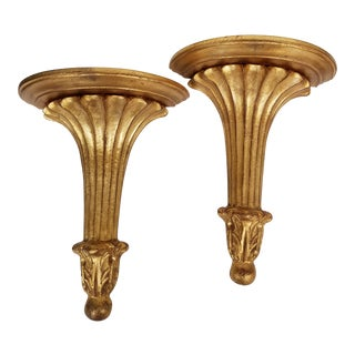 1960s Classic Carved Wood Gold Wall Brackets- a Pair For Sale