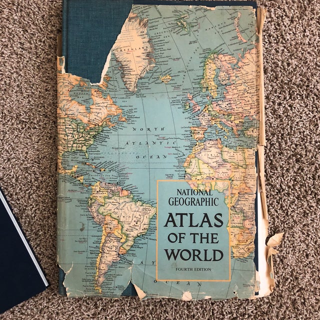 Mid-Century Modern Vintage Atlas of the World Books - A Pair For Sale - Image 3 of 8