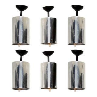 Sonneman Style Aluminum Hanging Lamps 1950s - Set of 6 For Sale