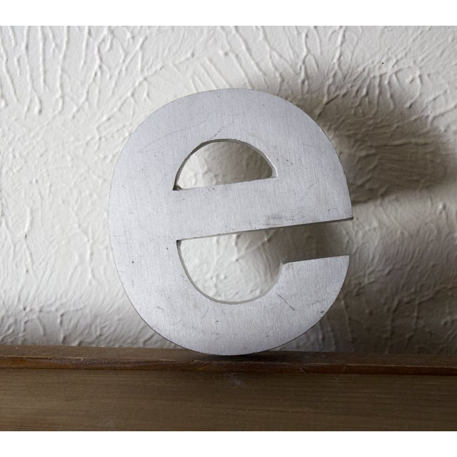 Industrial Silver Salvaged Letter E For Sale In Dallas - Image 6 of 6