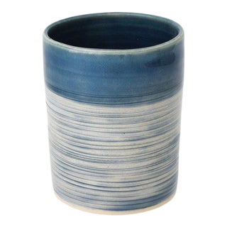Modern Handmade French Blue Ribbed Tumbler by FisheyeCeramics For Sale